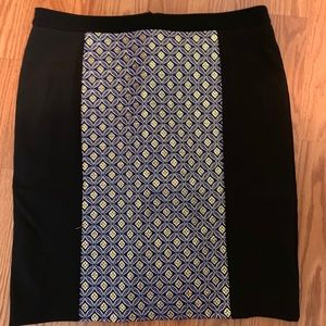 Black and jacquard blue and gold skirt